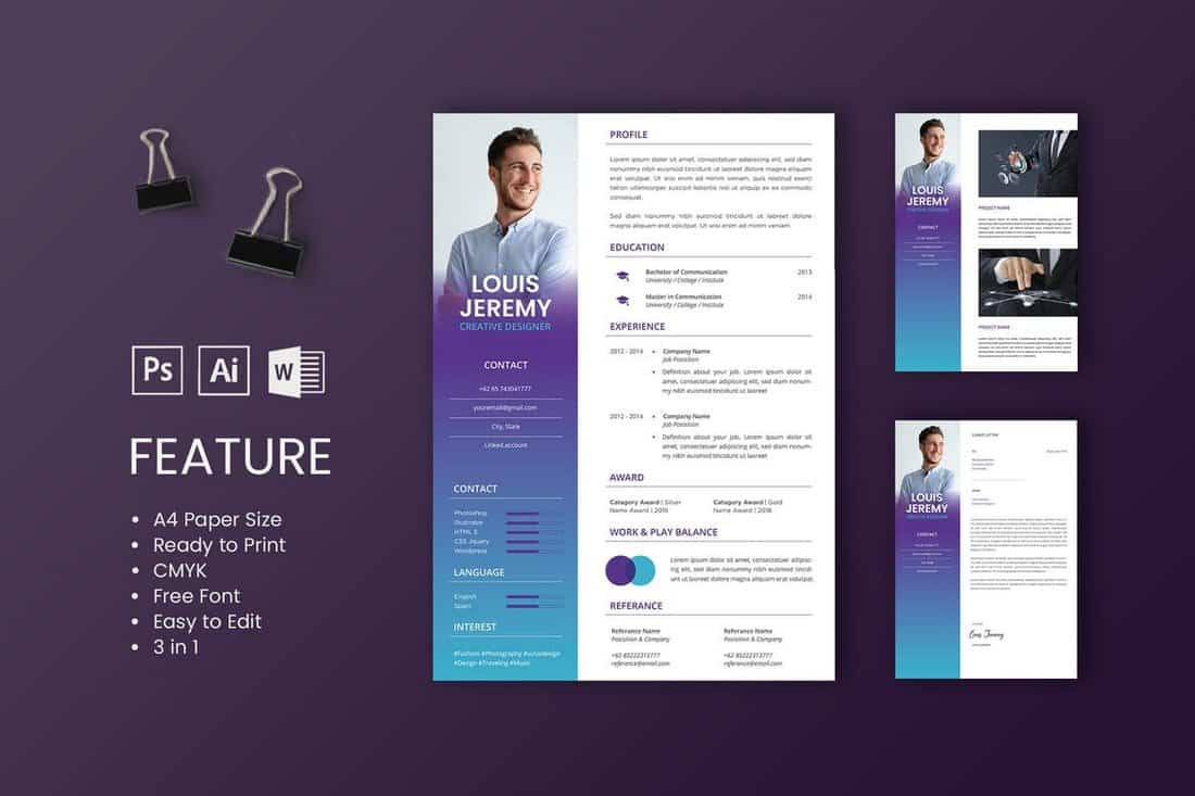 Louis-Professional-CV-And-Resume-Template 50+ Best CV & Resume Templates 2020 design tips