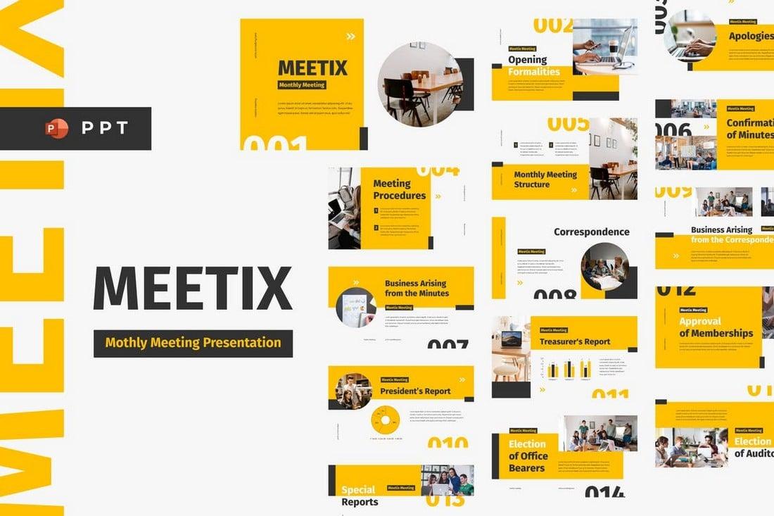 MEETIX-Monthly-Meeting-Powerpoint-Template 20+ Best Webinar PowerPoint Templates (Remote Presentation PPT Slides) design tips