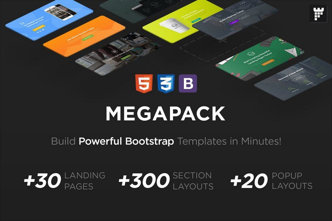 MEGAPACK-–-Marketing-HTML-Landing-Pages-Pack 50+ Best App Landing Page Templates 2021 design tips