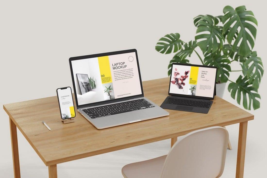 MacBook & iPad On Desk Mockup