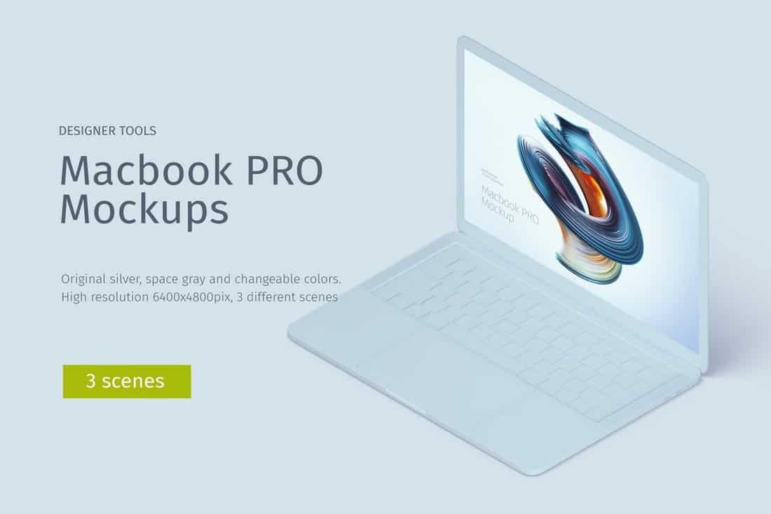 Macbook PRO Isometric Creative Mockup