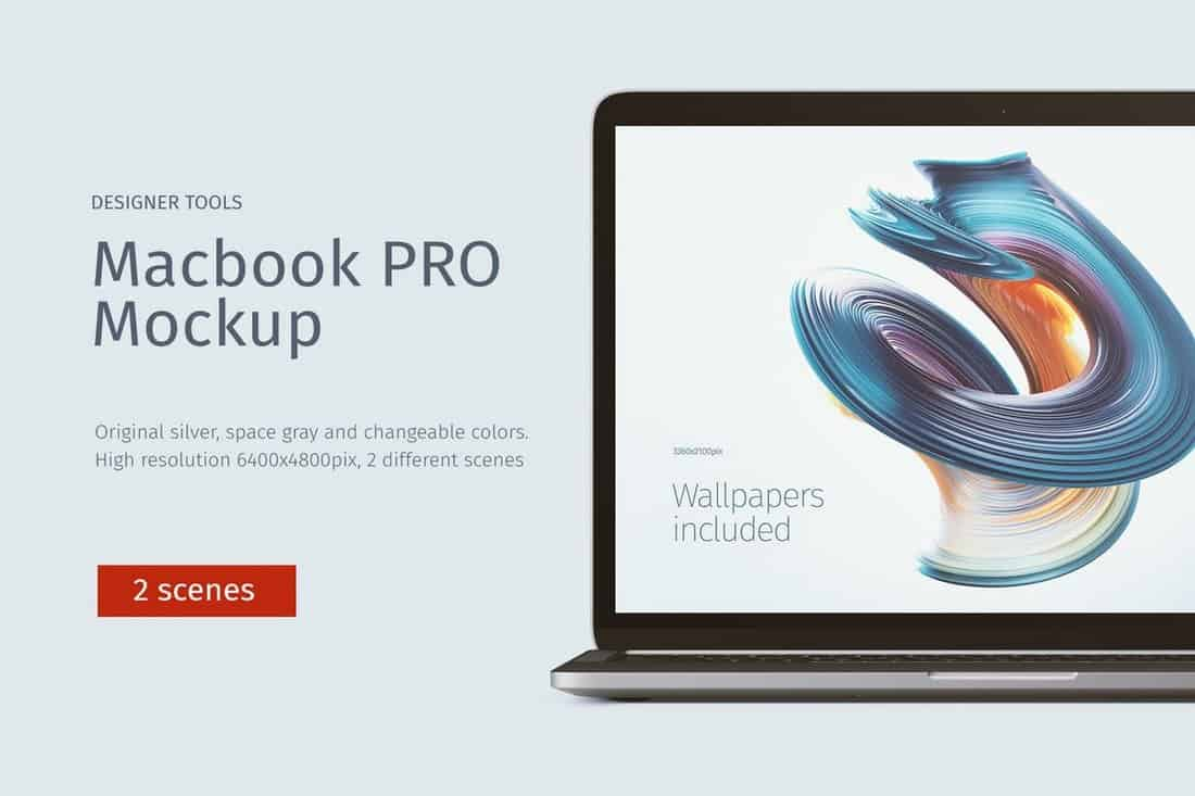 Macbook PRO Mockup Front & Top views