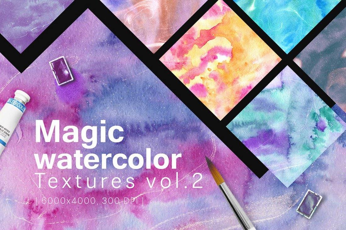 Magic-Watercolor-Textures-Vol.-2 30+ Best Watercolor Background Textures design tips