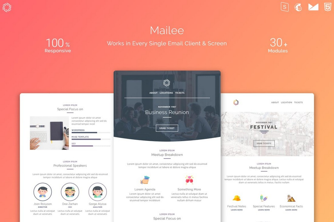 Mailee-Responsive-Multipurpose-Email-Template 40+ Modern Responsive Email Templates 2021 design tips