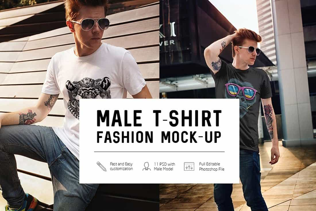 Male T-Shirt Fashion Mockups