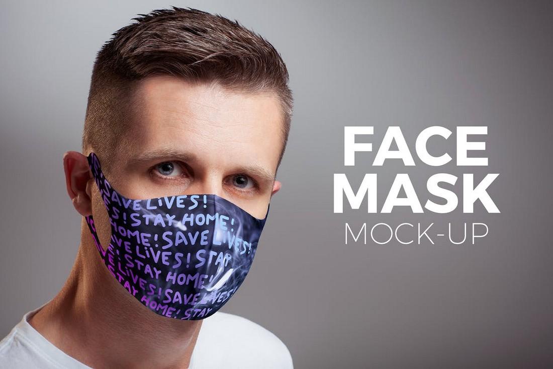 Man Wearing Face Mask Mockup