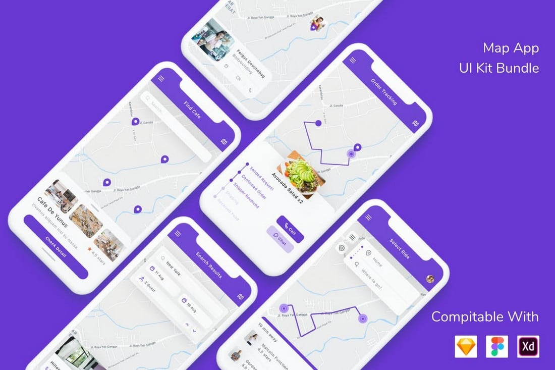 Map App UI Kit Sketch Templates Bundle