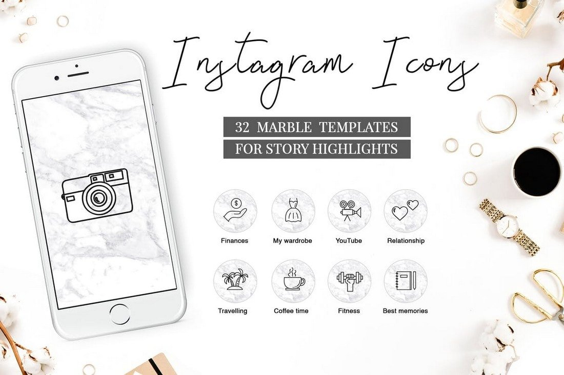 Marble Instagram Highlight Icons