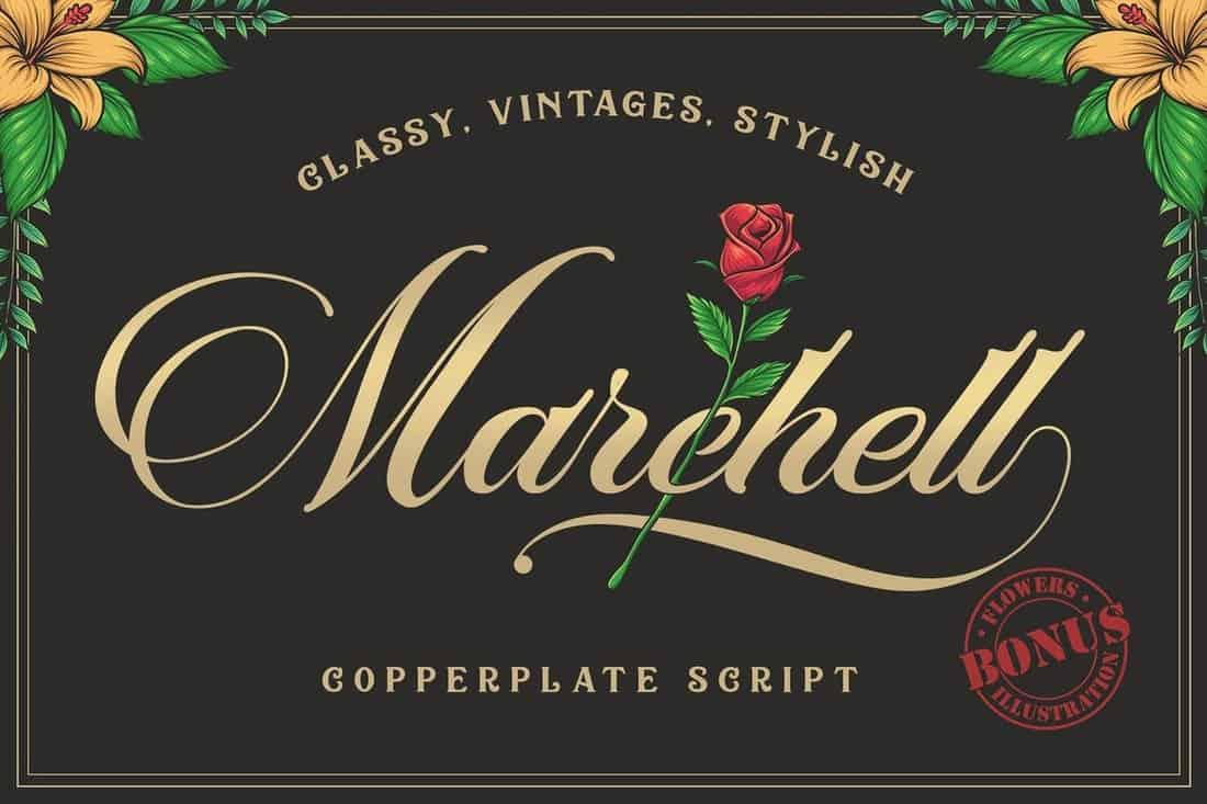 Marchell Font + Bonus Vector Flowers