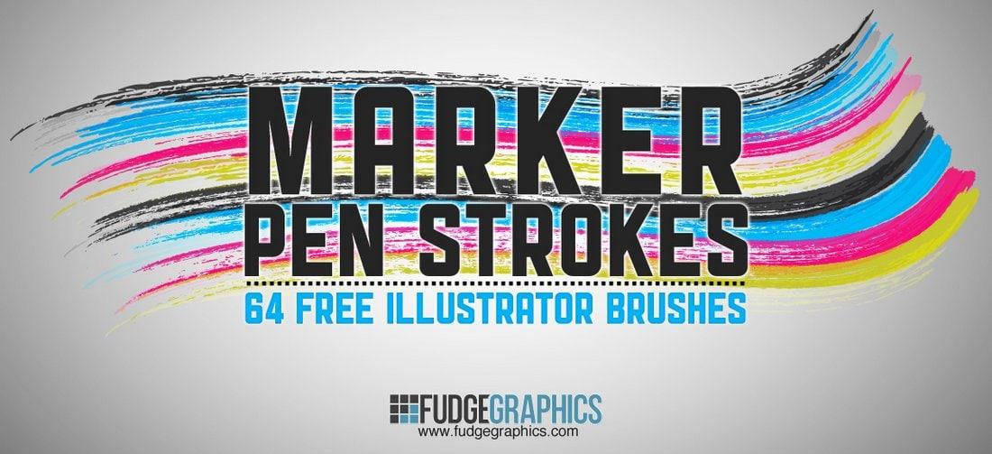 Marker-Pen-Strokes-Free-Illustrator-Brushes 25+ Best Free Adobe Illustrator Brushes 2021 design tips