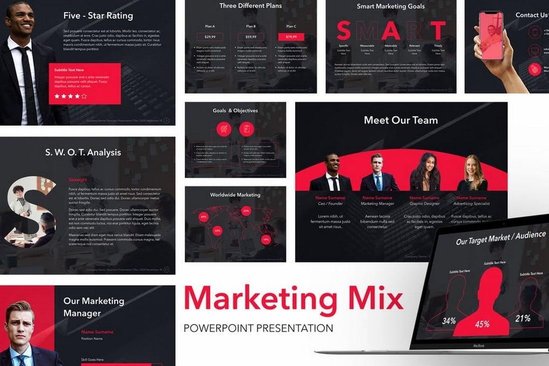 Marketing Mix - Dark PowerPoint Template