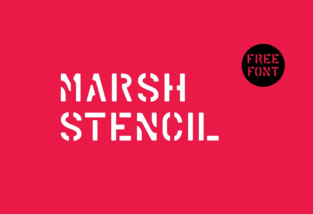 Marsh-Free-Stencil-Font 35+ Best Stencil Fonts design tips