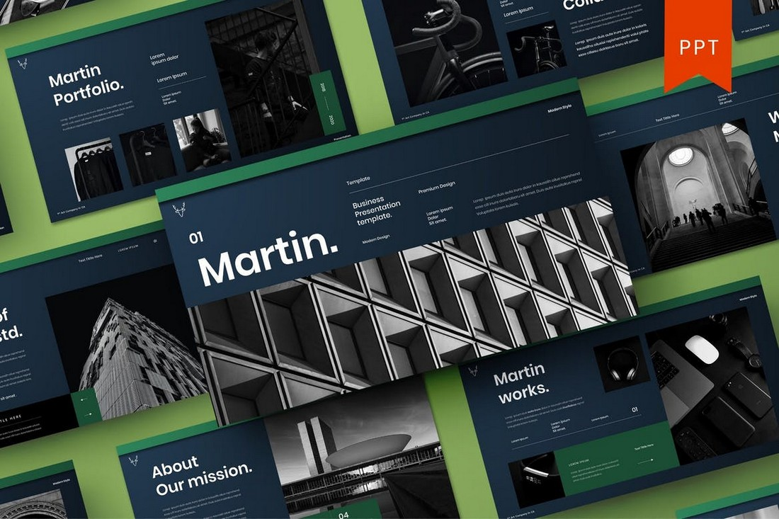 Martin-–-Business-Profile-PowerPoint-Template 40+ Best Company Profile Templates (Word + PowerPoint) design tips