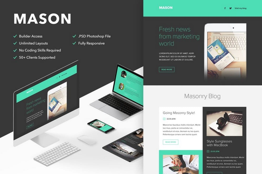 Mason-Responsive-Email-Newsletter-Template 20+ Best MailChimp Email Newsletter Templates (Free + Premium) 2021 design tips