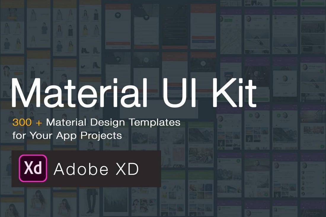 Material Design UI KIT - 300+ Adobe XD Templates