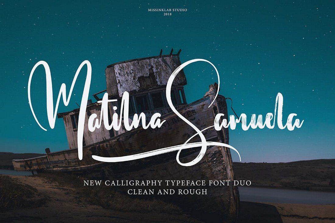 Matilna-Samuela-Font-Duo 40+ Best Hand Lettering & Handwriting Fonts 2020 design tips  Inspiration|cursive|script