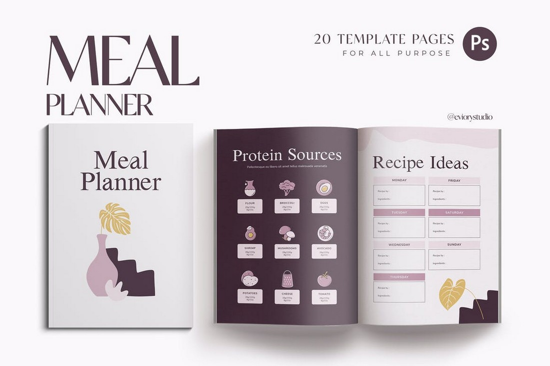 Meal & Grocery Workbook Planner Template