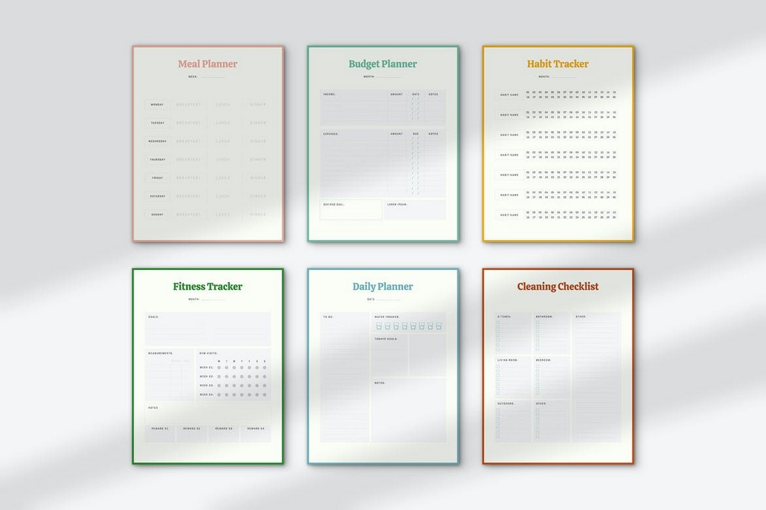 Meal & Workout Planner Templates Kit