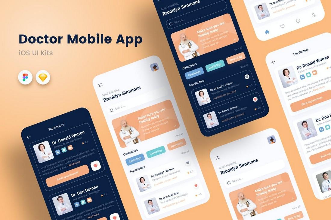 Medical Mobile App UI Kit for Sketch