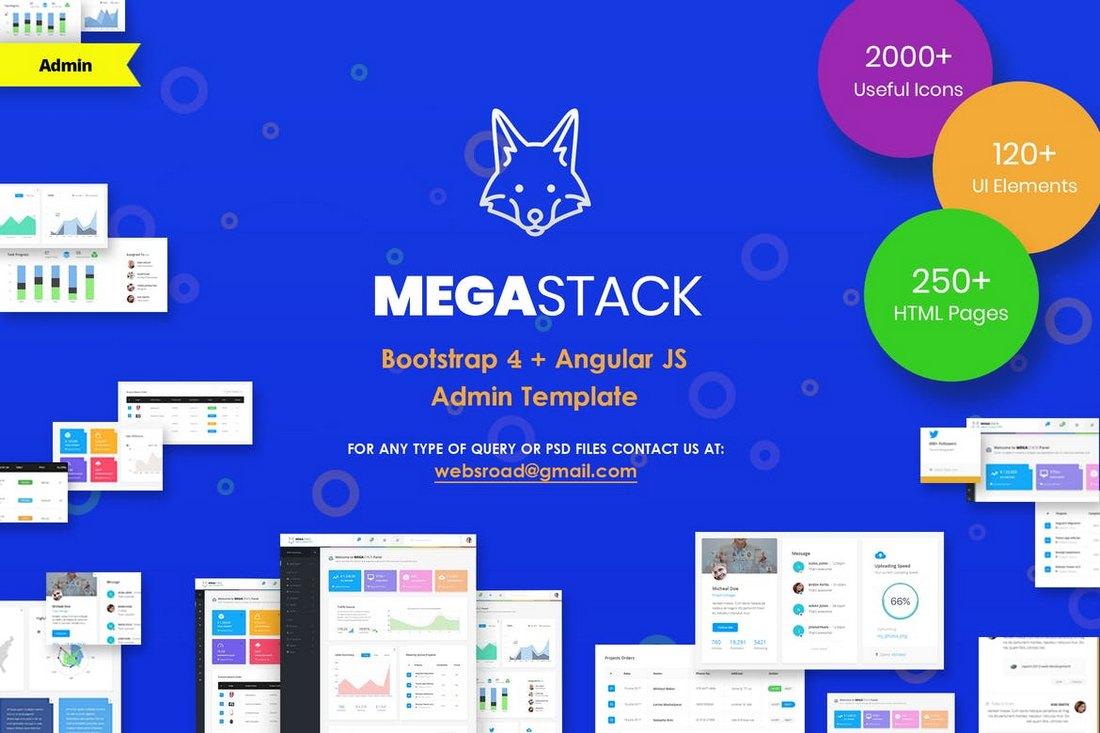 MegaStack - Modèle Bootstrap 4 et Angular JS Admin