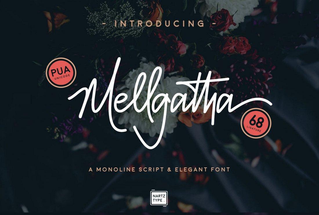 Mellgatha - Fuente Gratis Monoline Script