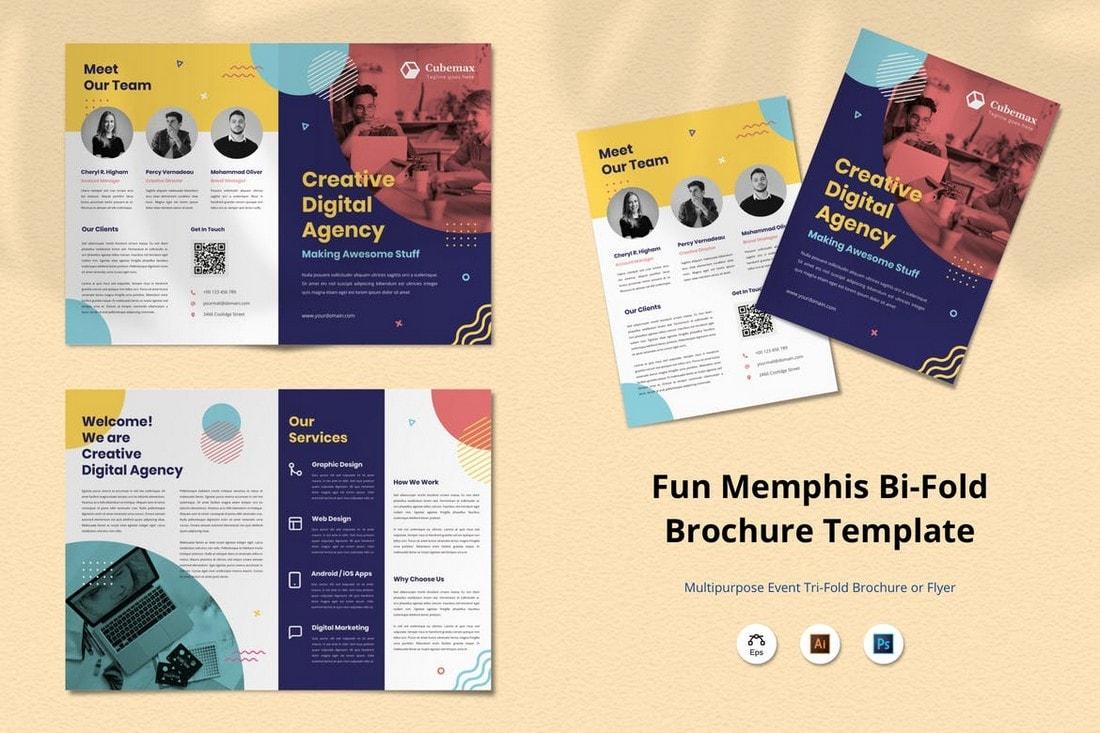Memphis-Creative-Bifold-Brochure-Design 20+ Professional Brochure Templates & Designs design tips  Inspiration