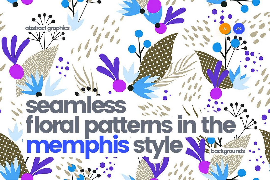 Memphis Style Seamless Floral Patterns