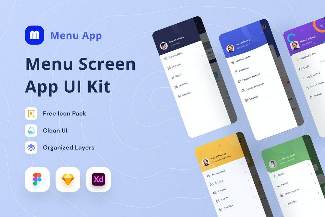 Menu Screen UI Kit for Sketch & Figma