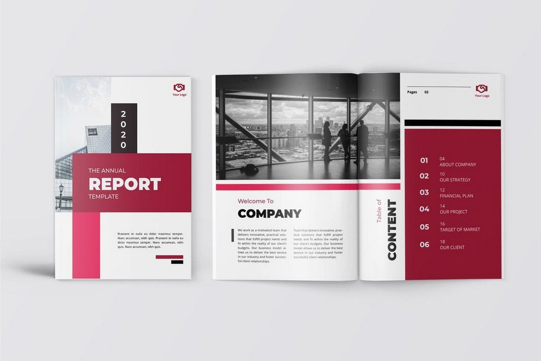 Merah-Business-Annual-Report-Word-INDD 50+ Annual Report Templates (Word & InDesign) 2021 design tips