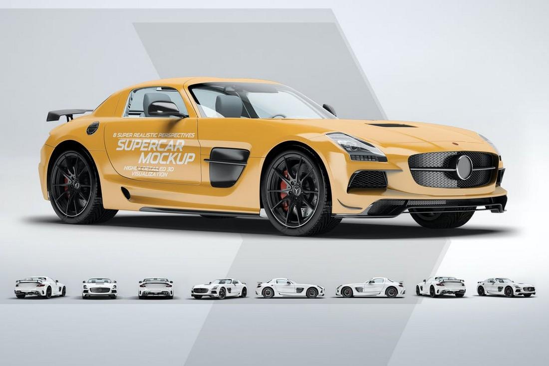 Mercedes SLS AMG Livery Supercar Mockup