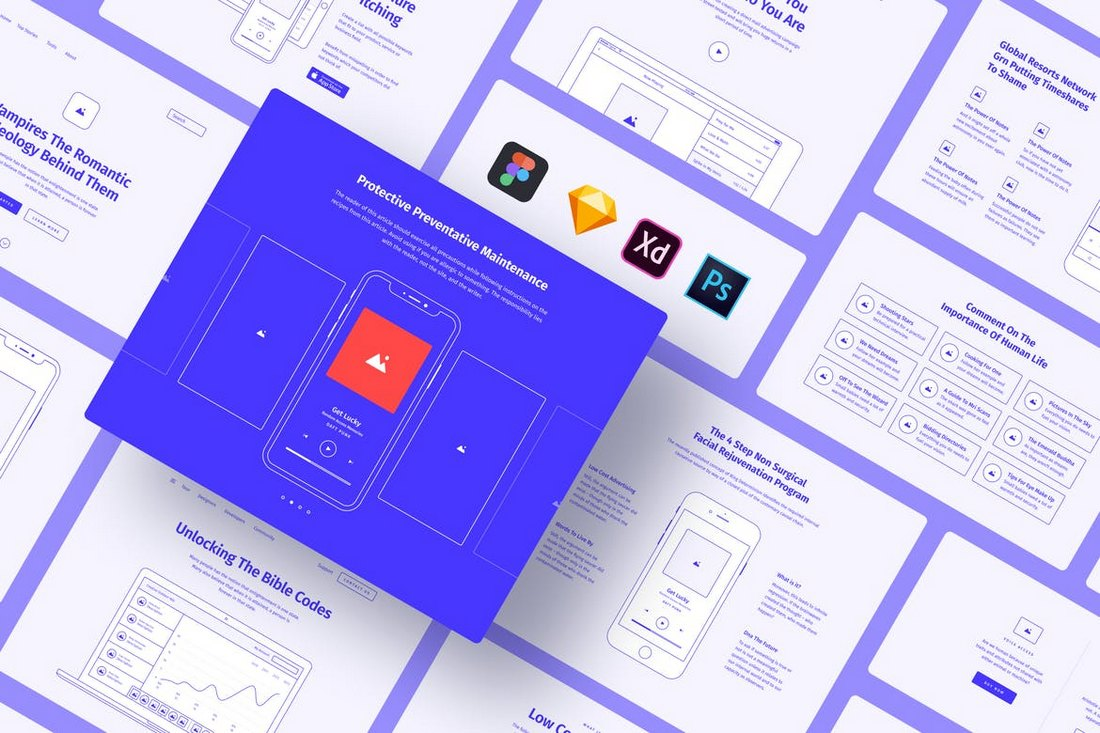 Method Wireframe Kit Sketch Template