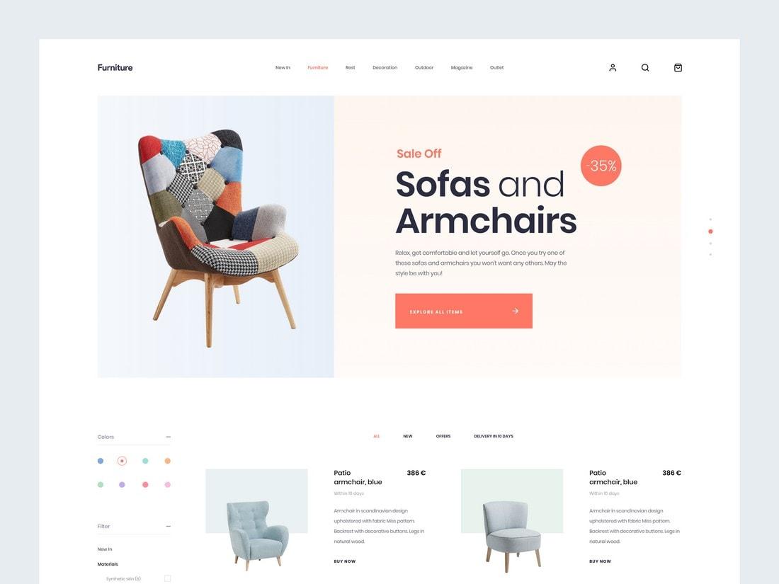 Mi Furniture - Free Sketch Website Template