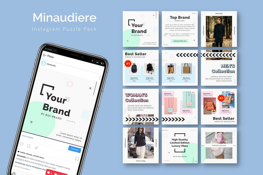Minaudiere - Instagram Puzzle Feed Template