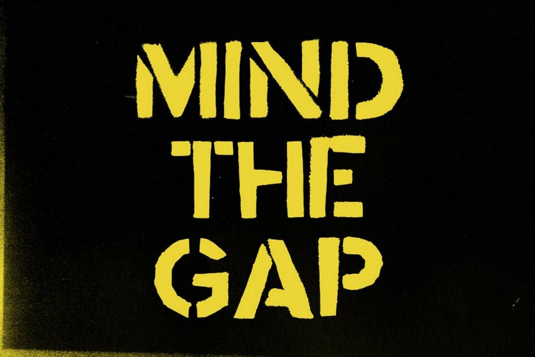 Mind-the-Gap-Urban-Stencil-Font 30+ Best Stencil Fonts design tips