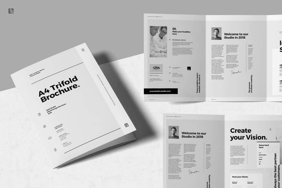Minimal-A4-Trifold-Brochures 20+ Best InDesign TriFold Templates 2020 design tips  Inspiration