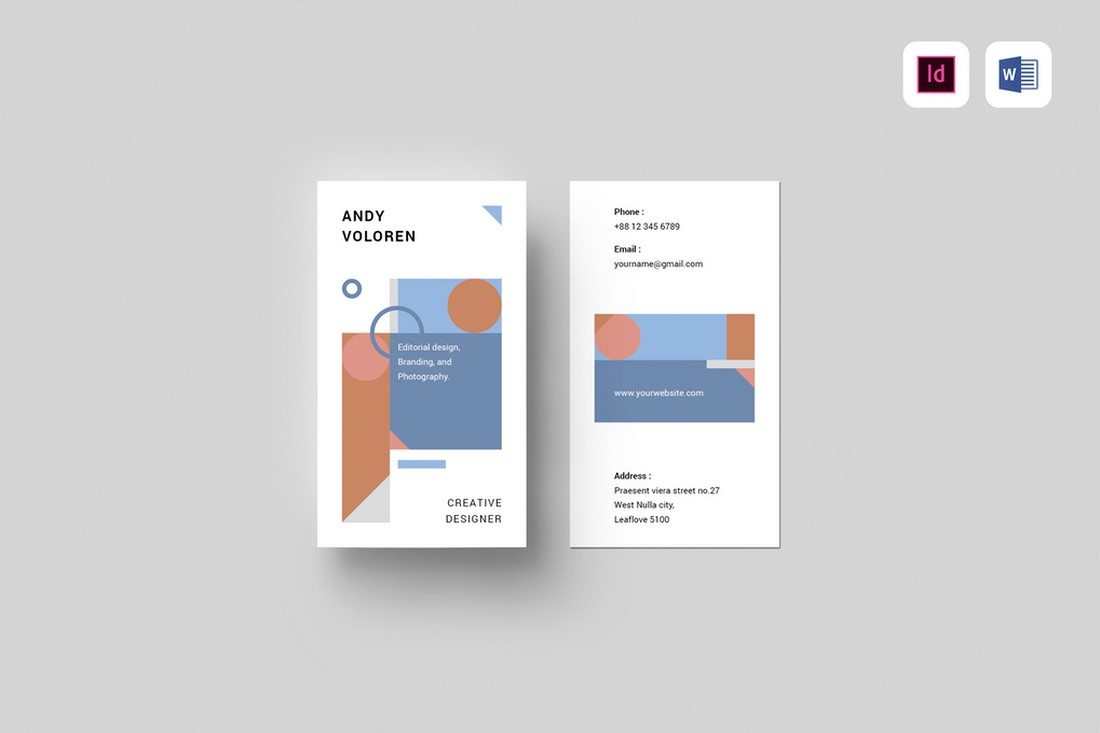 Minimal Abstract Business Card Design for Word & INDD