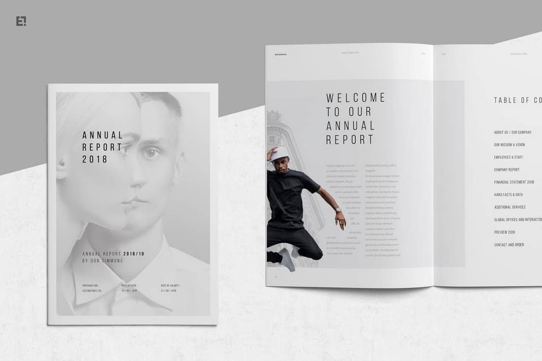 Minimal Annual Report InDesign Template