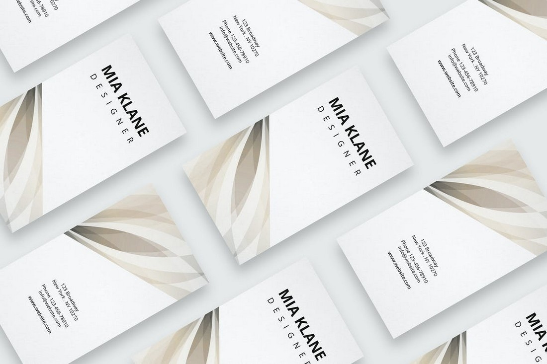 Minimal Business Card with Beige Pattern
