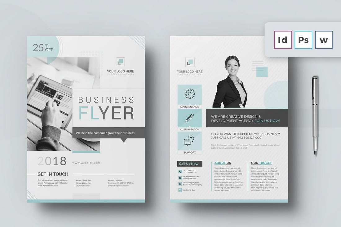 Minimal Business Flyer Word Brochure Template