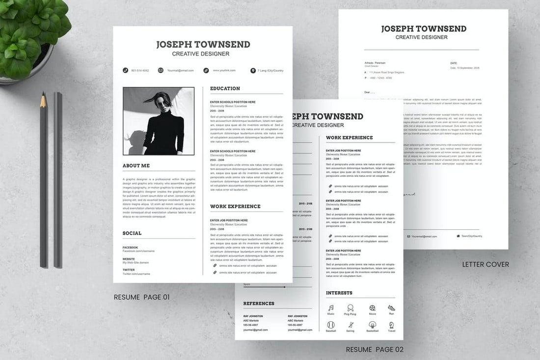Minimal CV Resume & Letter Cover Templates