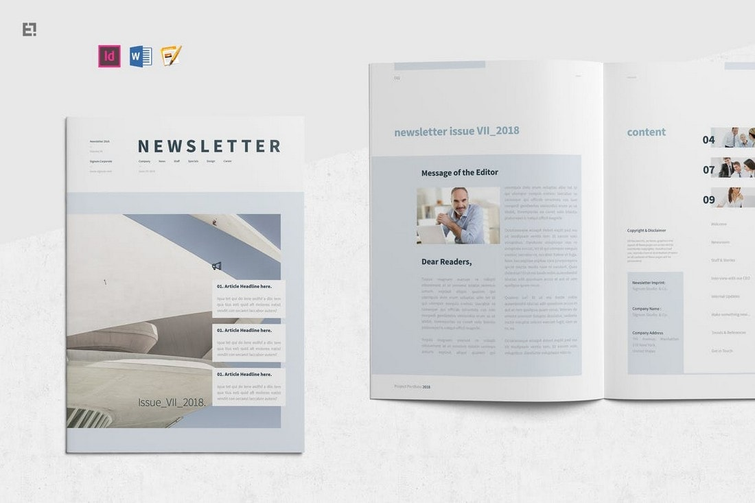 Minimal-Corporate-Newsletter-Template 20+ Best InDesign Newsletter Templates (Free & Premium) design tips  Inspiration