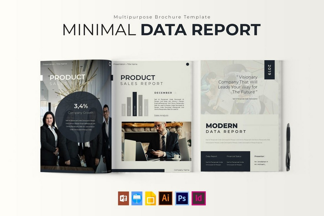 Minimal Data - Modern Report Brochure Template