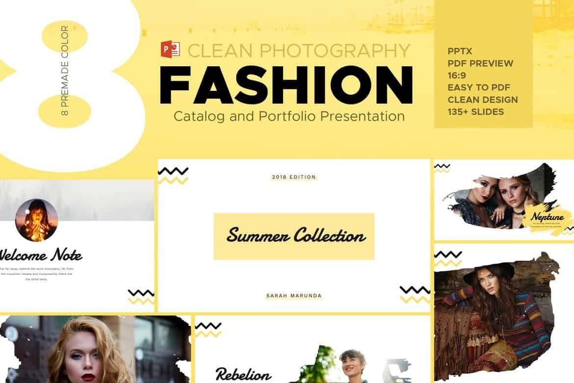 Minimal Fashion Catalog & Photography Powerpoint Template