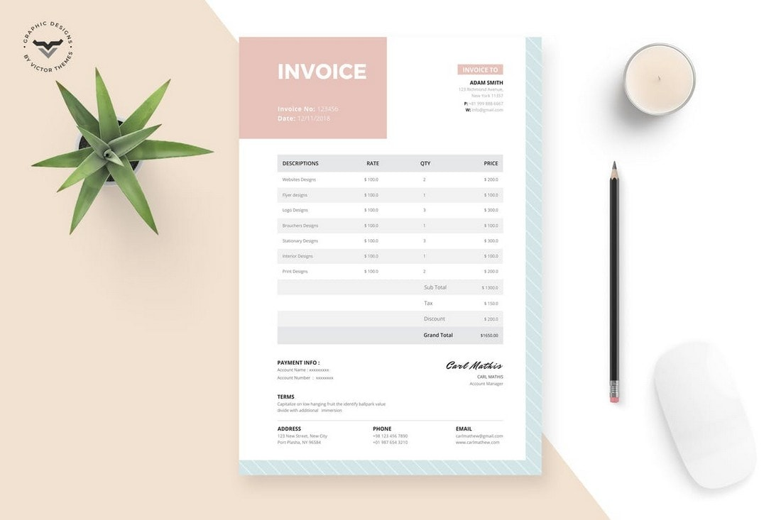 Minimal-Feminine-Invoice-Template 20+ Best Invoice Templates for InDesign & Illustrator (Free + Premium) design tips  Inspiration