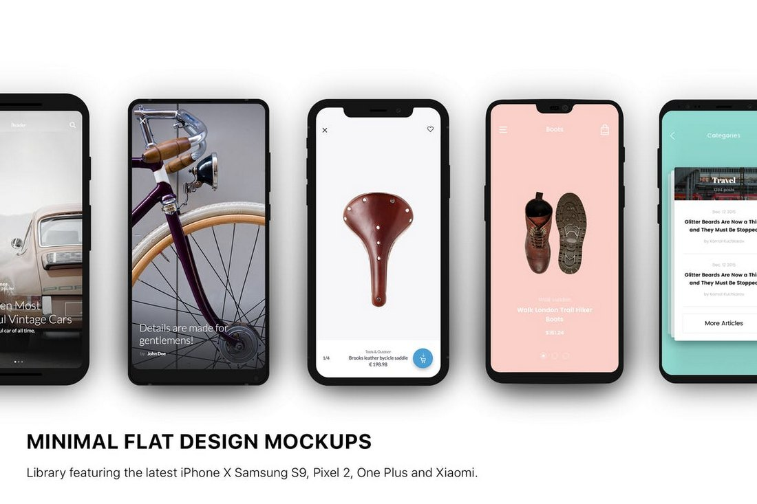 Minimal Flat Design Smartphones Mockup