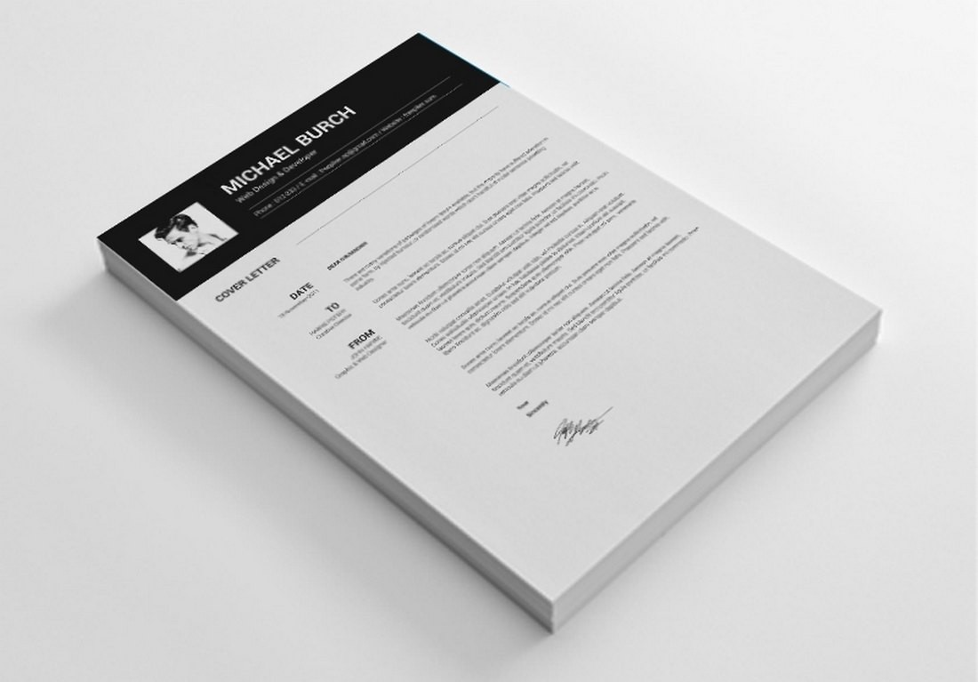 Minimal Free CV & Cover Letter Word Template