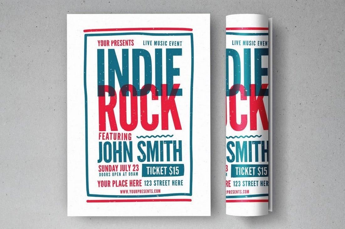 Minimal-Indie-Rock-Flyer 30+ Best Music & Band Flyer Templates design tips