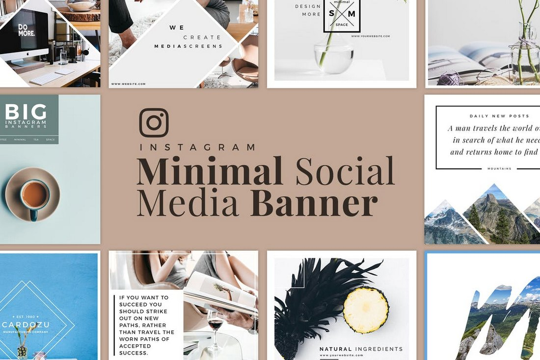 Minimal-Instagram-Banner-Templates-Kit 20+ Best Social Media Kit Templates & Graphics design tips
