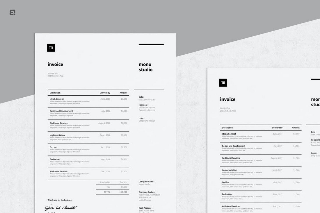 Minimal-Invoice-Template-For-InDesign 20+ Best Invoice Templates for InDesign & Illustrator (Free + Premium) design tips  Inspiration