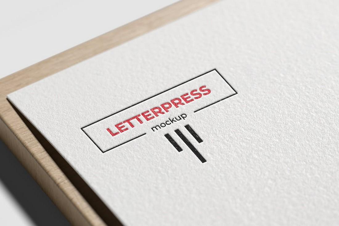 Minimal Letterpress Logo Mockup
